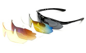 Polarised Sports Sunglasses for Men Women with 5 Interchangeable Lenses for Cycling Running Fishing Driving