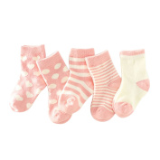 Lalagouk Unisex Baby Toddler Newborn Assorted Cotton Socks Children Tube Socks 5 Pack