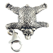 Sterling Silver Bear Skin Rug Clip On Charm - With 11mm Clasp