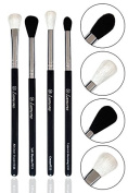 Pro Blending Brush Set - Smoky Eye Shadow Contour Kit - 4 Essential Shapes - Best Choice Crease, All Over Shader, Tapered, Soft Blender - For Shading & Blending of Eyeshadow Make Up Cream Powder Highlighter