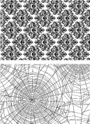 Tim Holtz Cling Stamps 18cm x 22cm -Skulls & Cobwebs