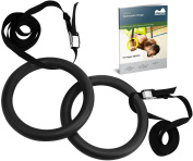 Reehut Gymnastic Rings W/ Adjustable Straps, Metal Buckles & Manual - Home Gym (Set of 2) - Non-Slip - Great For Workout, Strength Training, Fitness, Pull Ups and Dips