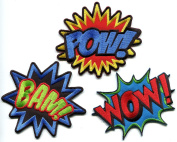 Lot of 3 POW! WOW! BAM! superhero comics retro fun embroidered appliques iron-on patches