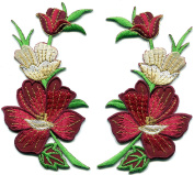 6.4cm x 11cm Burgundy red summer flowers pair embroidered appliques iron-on patches