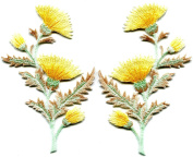 7.6cm x 12cm Yellow orange carnation spray thistle pair flowers floral bouquet new embroidered appliques iron-on patches