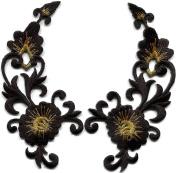5.1cm x 11cm Black gold trim fringe flower boho art deco embroidered appliques iron-on patches pair new
