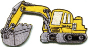 5.1cm x 9.9cm Backhoe digger tractor loader trackhoe bulldozer embroidered applique iron-on patch