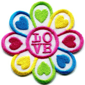 Flower power Summer of Love boho hippie retro peace weed embroidered applique iron-on patch
