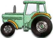 5.7cm x 8.3cm Tractor crawler plough farm truck mint green embroidered applique iron-on patch