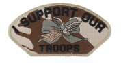 United States Military Support Our Troops Camo Eagle Flag Uniform Patch