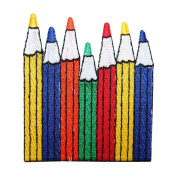 ID 0945B Coloured Pencils Patch School Art Supplies Embroidered Iron On Applique