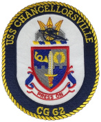 USS CHANCELLORSVILLE CG-62 OVAL PATCH - colour - Veteran Owned Business.