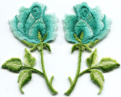 5.4cm x 7.3cm Turquoise blue green roses pair flowers embroidered appliques iron-on patches