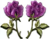 5.4cm x 7.3cm Lavender pink purple roses pair flowers floral embroidered appliques iron-on patches