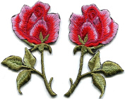 5.4cm x 7.3cm Hot Pink roses pair flowers floral retro boho hippie embroidered appliques iron-ons patches
