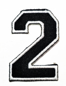 HHO Black Number 2 No 2 math counting no 2 school Patch Embroidered DIY Patches, Cute Applique Sew Iron on Kids Craft Patch for Bags Jackets Jeans Clothes