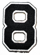 HHO Black Number 8 No 8 math counting no 8 school Patch Embroidered DIY Patches, Cute Applique Sew Iron on Kids Craft Patch for Bags Jackets Jeans Clothes