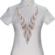 1piece V Neck Collar Design Hot Fix Transfer Rhinestones Beads Crystal Applique for Women Weding Dress Sewing Supplies T2395