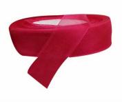 2 Rolls 2.5cm Double Faced Solid Satin Chiffon Organza Ribbon Hair Bow Dark Red