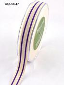 16mm May Arts Organic Cotton Stripe Ribbon Purple - per metre