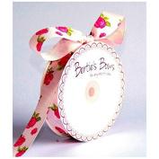 25mm Bertie39;s Bows Rose Print Grosgrain Ribbon Pink - per metre