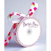 25mm Bertie39;s Bows Rose Print Grosgrain Ribbon White - per metre