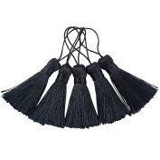 Makhry 20pcs 11cm Handmade Silky Floss Mini Tiny Craft Tassels with 5.1cm Cord Loop and Small Chinese Knot for Earrings, Souvenir, Bookmarks, DIY Craft Accessory,Tags