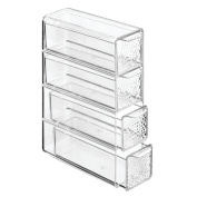 InterDesign Rain 4-Drawer Cosmetic Organiser for Makeup, Beauty Products - Flip Tower, Clear