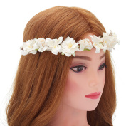 Lilly with Rose Garland Flower Crown Wreath Boho Garland – Perfect for Wedding Festivals, Casual wears & Photography