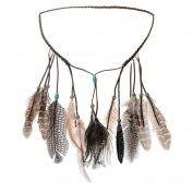 MISM Peacock Feather Headband Hippie Headdress Women Fancy Dress