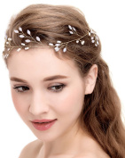 BABEYOND Wedding Bridal Headband Bridesmaids Hair Piece Wedding Pearl Hair Vine with Ribbons