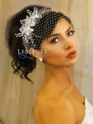 Pearl Crystal Sprays and Birdcage Veil Bridal One Size Ivory 27-515