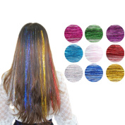 Raylans 9pcs Colourful Clip in Hair Extensions 46cm Straight Hairpieces for Party Club Highlight