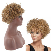OYSRONG Women's Short Wavy Afro Wig Lace Front Wig