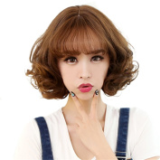 BESTLEE Synthetic Korean Style Short Natural Curly Wig with Air Bangs for Women Light Brown