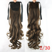 KUPARK 55cm Long Curly Tie up Ponytail Hair Extensions Wrap Around Pony Tail
