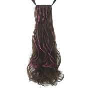 KUPARK 55cm Braided Curly Wavy Hairpiece Wrap Around Ponytail Hair Extensions