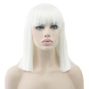 KUPARK 40cm Shoulder Length Flat Bangs Bob Wig Straight Women Cosplay Wigs