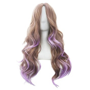 KUPARK 70CM Lavender Ombre Flaxen Long Curly Wavy Anime Party Cosplay Wigs