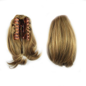 KUPARK 26cm Short Straight Synthetic HairPiece Claw Clip in/on Ponytail, 2005#
