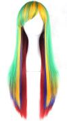 KUPARK 70CM Rainbow Colourful Long Straight Wigs Anime Costume Cosplay Wig