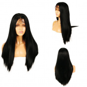 Life Diaries 250%Density Glueless Synthetic Lace Front Wig Straight Black 10%Human Hair+90%Heat Resistant Fibre Wig For Women