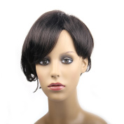 Synthetic Short Wigs For Women Afro Kanekalon Womens Wigs With Side Bangs Heat Resistant (Black