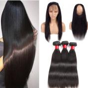 Malaysian Straight Hair with 360 Lace Frontal Closure 8A Pre Plucked 360 Full Lace Frontal with Malaysian Virgin Hair Straight Human Hair 3 Bundles