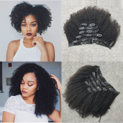 25cm 120G Clips Afro Short Kinky Curly 4A 4C Double Weft Thick Hair Human Virgin Hair 6 Pieces Clip in Natural Black #1B Clip in Remy Human Hair Extension Good Quality For African American Women Hair