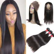 Peruvian Straight Hair Bundles with Pre Plucked 360 Lace Frontal Closure 8A Unprocessed 3pcs Straight Human Hair 360 Lace Frontal Closure with Baby Hair