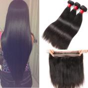 8A Brazilian Virgin Hair Straight with 360 Lace Frontal Closure 3pcs Straight Human Hair Weave Bundles with Pre Plucked 360 Full Lace Frontal Closure Baby Hair