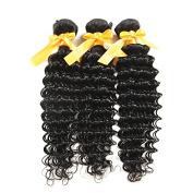 Zorssar Hair 3 bundles Brazilian Deep wave Hair Extensions 100% unprocessed human hair Weave Natural colour