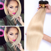 Peruvian Straight Hair Ombre Human Hair Bundles Ombre Colour Silk Hair Weave #1b/613 Black to Blonde Human Hair Extensions Two Tone Virgin Hair Weave 12 14 41cm