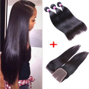 IUEENLY Brazilian Straight Hair 3 Bundles With Closure 7A Unprocessed Brazilian Virgin Human Hair With Lace Closure Free Part Natural Colour